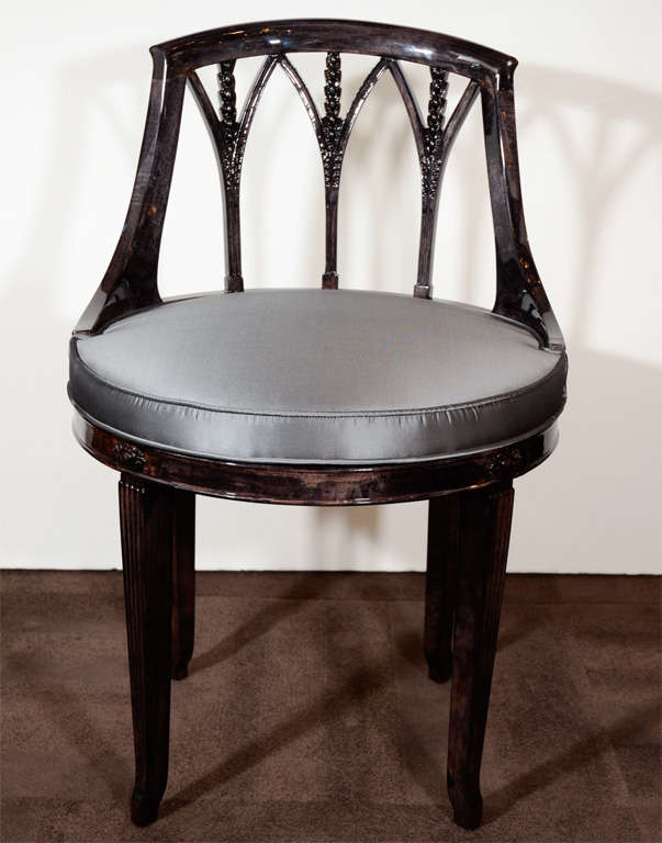 Elegant Art Deco Swivel Vanity Stool In Ebonized Walnut At