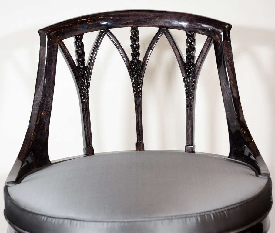 Elegant art deco swivel vanity stool in ebonized walnut image 3 - Elegant vanity stools ...
