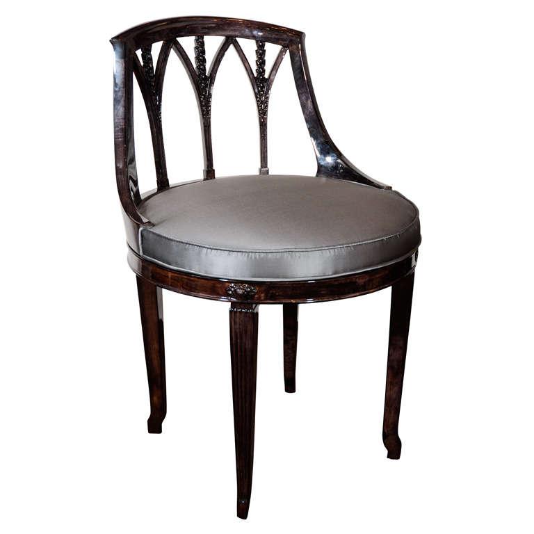 Elegant art deco swivel vanity stool in ebonized walnut at 1stdibs - Tall vanity chair ...
