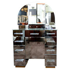 Stunning 1940s Hollywood Mirrored Vanity with Backlit Trifold