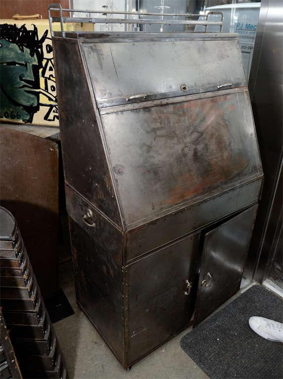 French Industrial Steel Slant Front Desk At 1stdibs