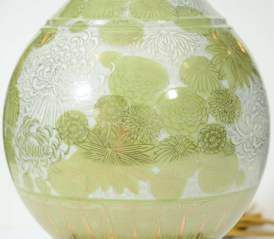 Gilt Pair of Green and White Chrysanthemum Porcelain Lamps by Marbro For Sale