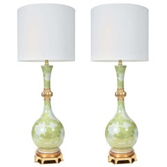 Marbro Green and White Chrysanthemum Porcelain Lamps