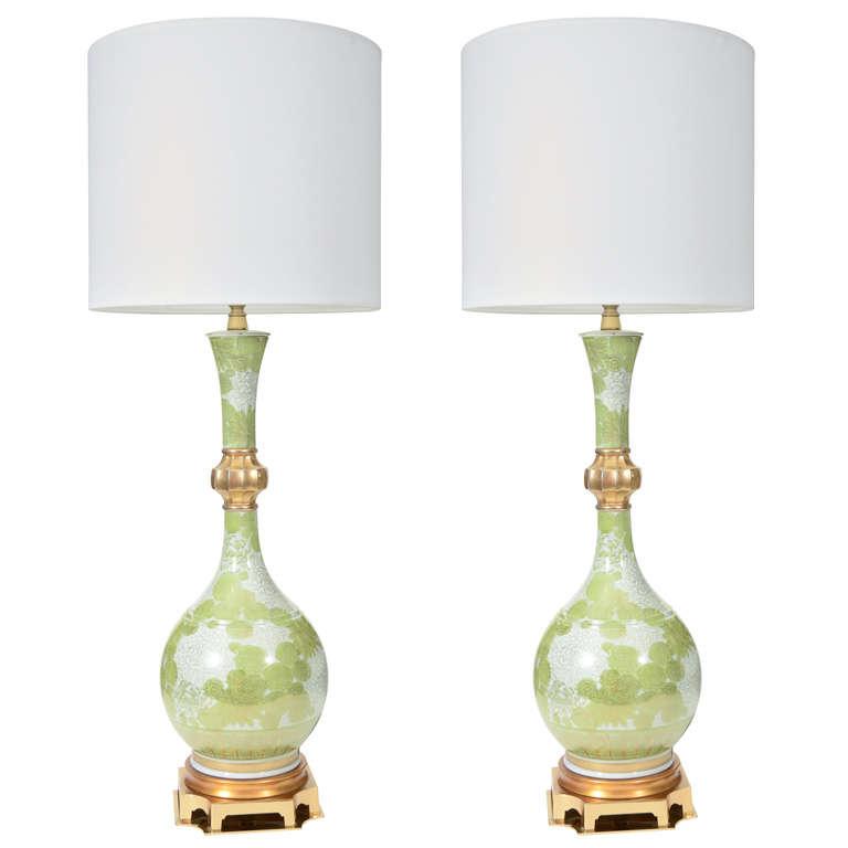 Marbro Green and White Chrysanthemum Porcelain Lamps