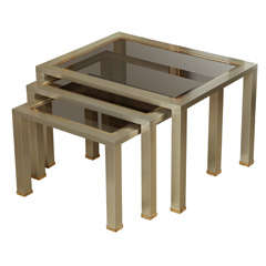 Set of Chrome and Brass Nesting Tables