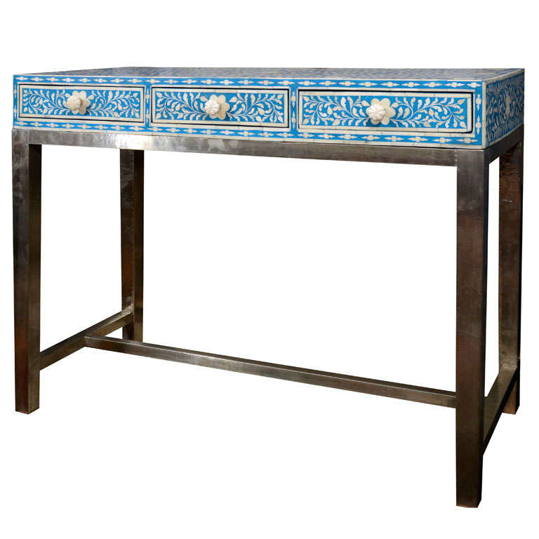 Indian Blue And White Bone Writing Desk At 1stdibs