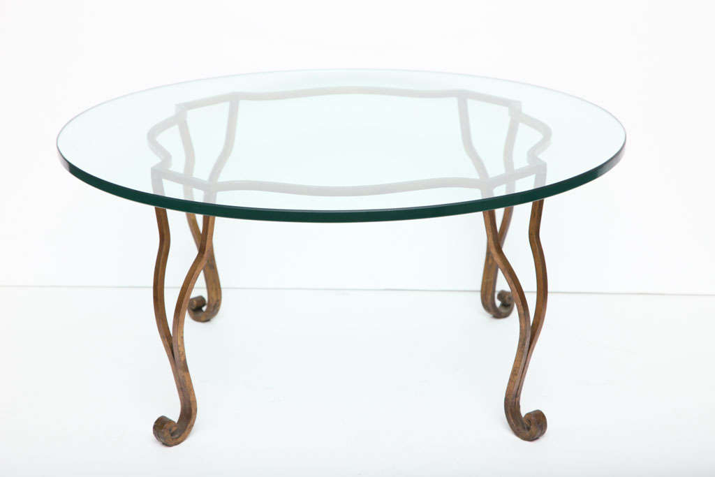Gilt Wrought Iron Glass Top Coffee Table At 1stdibs