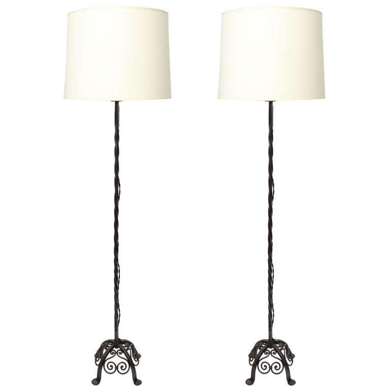 Pair of 1920s French Art Deco Wrought Iron Floor Lamps