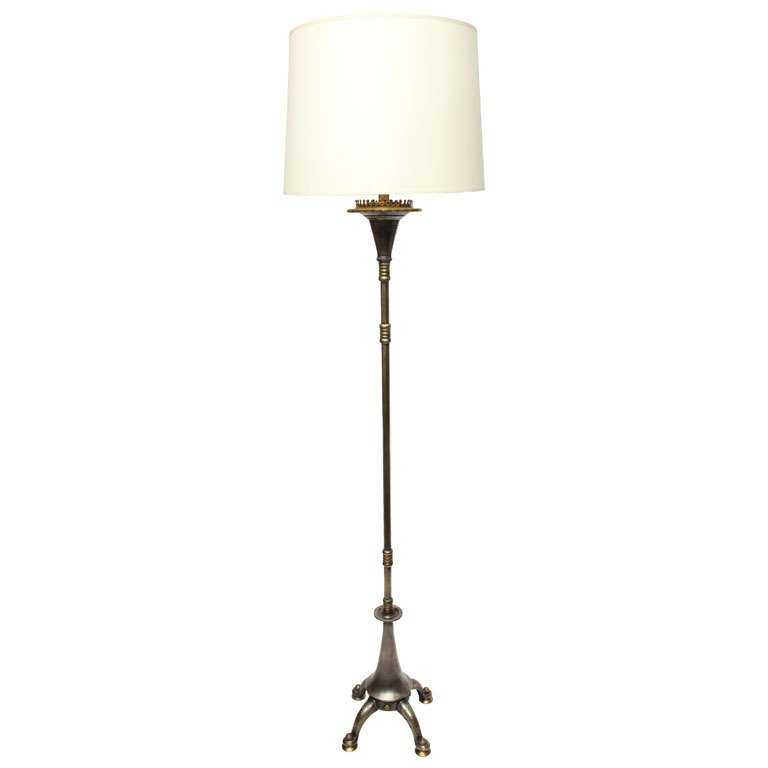 A 1920 39 s oscar b bach art deco silver and brass floor lamp for 1920 floor lamp