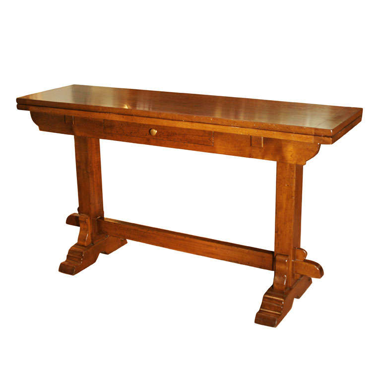 Walnut folding console table at 1stdibs for Table console retractable