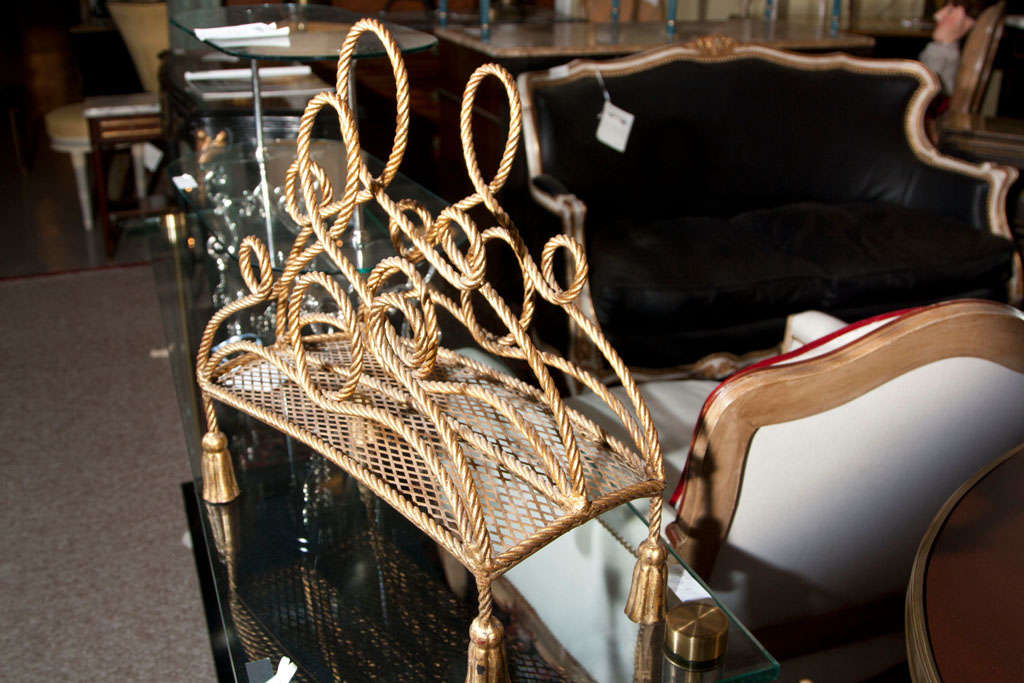 French Bronze Magazine Rack Attributed to Maison Jansen For Sale
