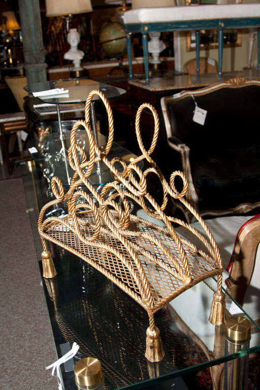 Bronze Magazine Rack Attributed to Maison Jansen In Good Condition For Sale In Stamford, CT
