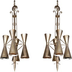 Pair of Art Deco Style Metal Fixtures One Chrome One Brass