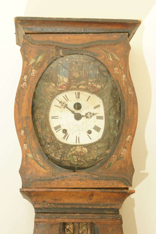 Hand-Painted Mid 19thC. French Provincial Louis XV Style Morbier Case Clock For Sale