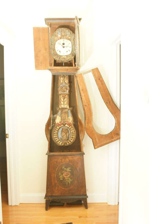 Mid 19thC. French Provincial Louis XV Style Morbier Case Clock In Excellent Condition For Sale In East Hampton, NY