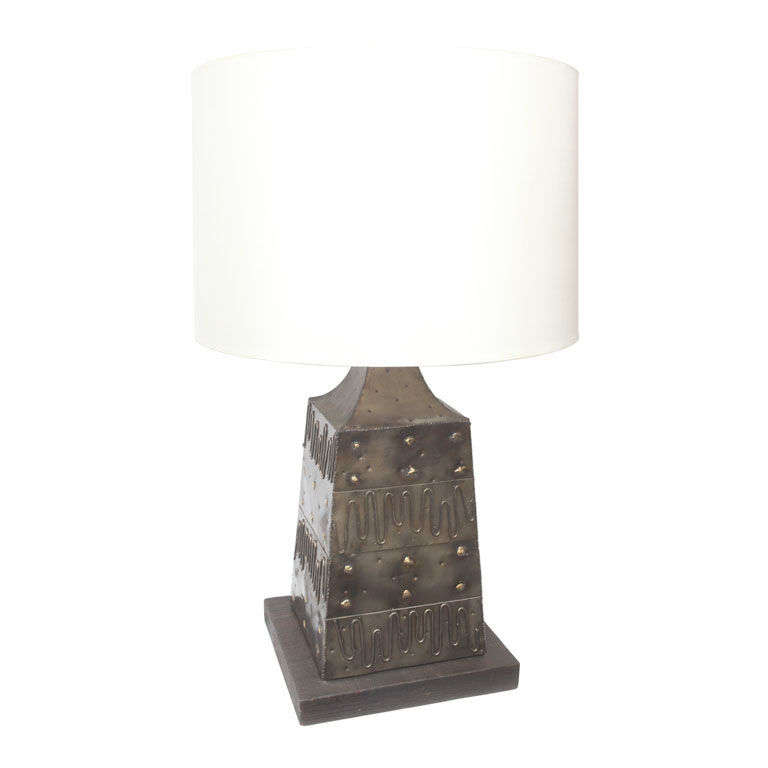 Modernist Italian, 1950s Mixed Metal Table Lamp by Fantoni