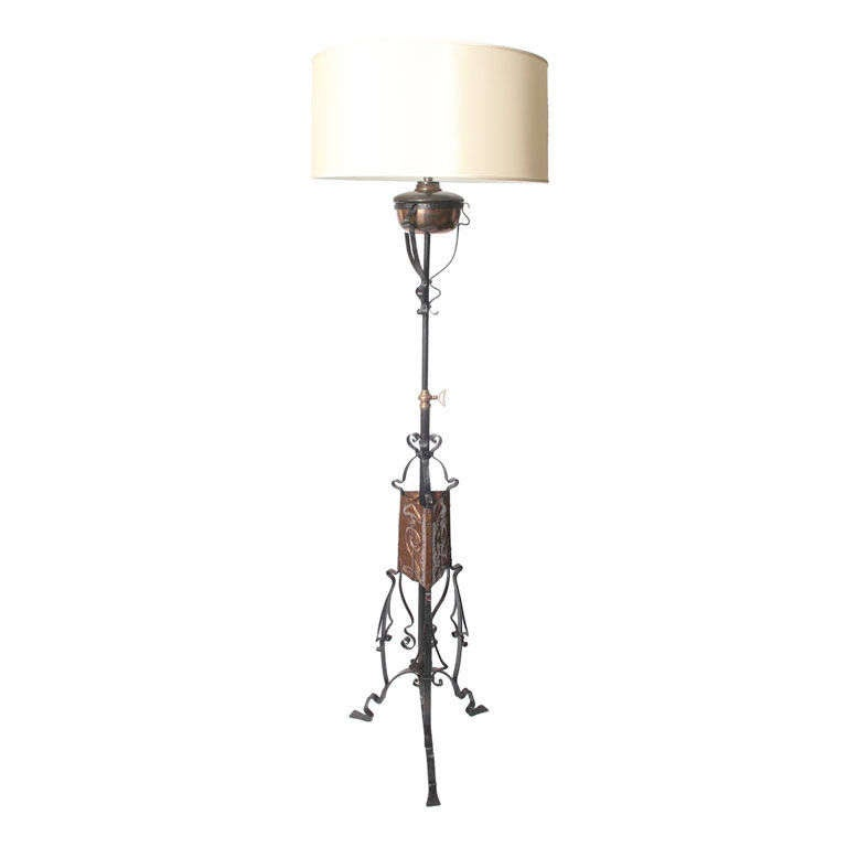 an english arts and crafts floor lamp signed benham and. Black Bedroom Furniture Sets. Home Design Ideas