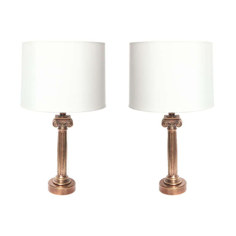 Pair of Classical Modern Patinated Bronze Column Table Lamps