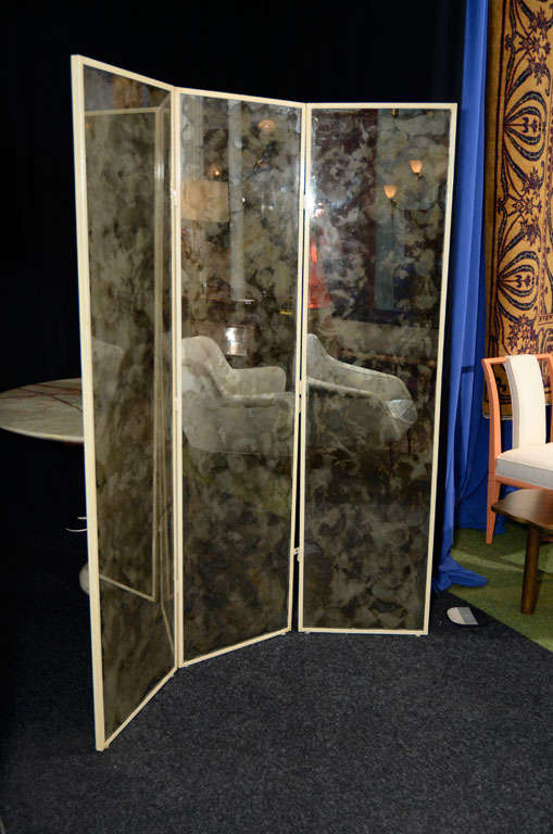 3-Panel Screen with Smoked Mirror at 1stdibs