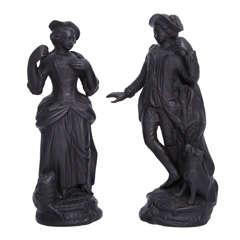 Rare Pair of Enoch Wood Basalt Figures