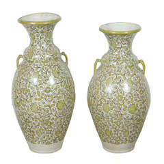 Moroccan Green Hand-painted Vases with Handles