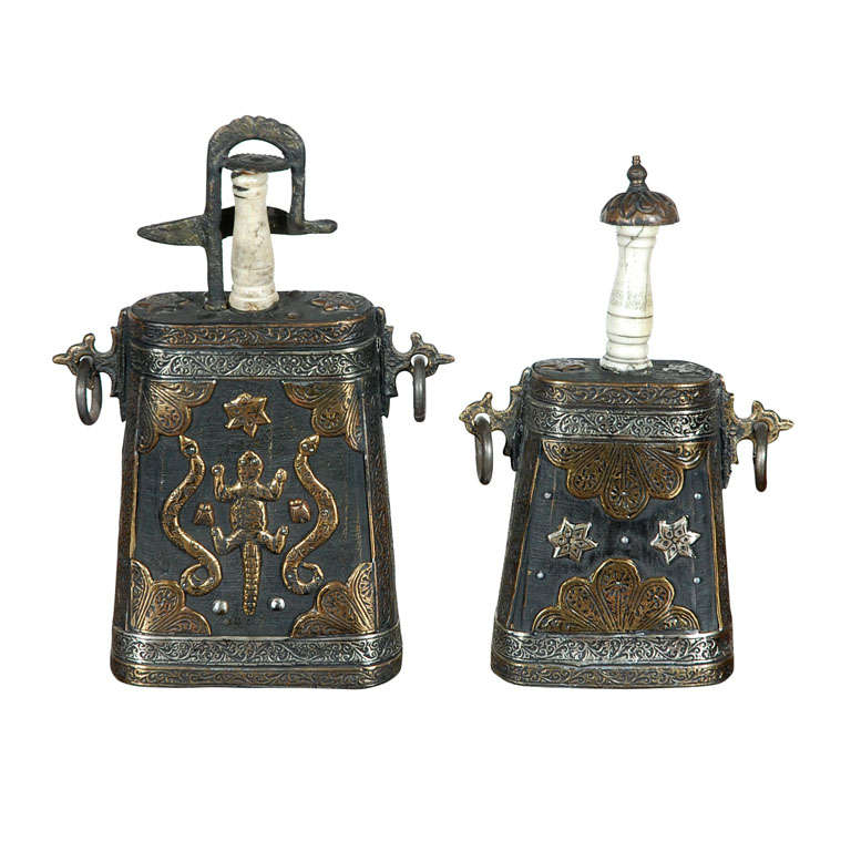 Set of Two Moroccan Antique Tribal Gun Powder Case Flask