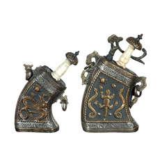 Set of Moroccan Antique Silver and Brass Gun Powder Case Flask