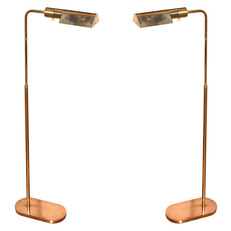 A pair of brass casella floor lamps c 1969 at 1stdibs for Casella brass floor lamp