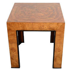 Mid-Century Modern Side Table in Burled Walnut Attributed to Milo Baughman