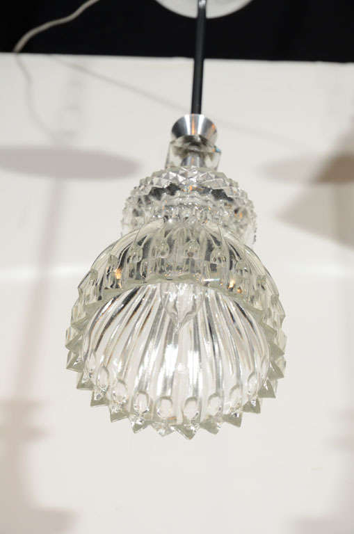 1940s Cut Crystal and Molded Glass Pendant Light For Sale ...