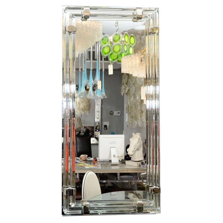 Glass and Chrome Tubular Mirror