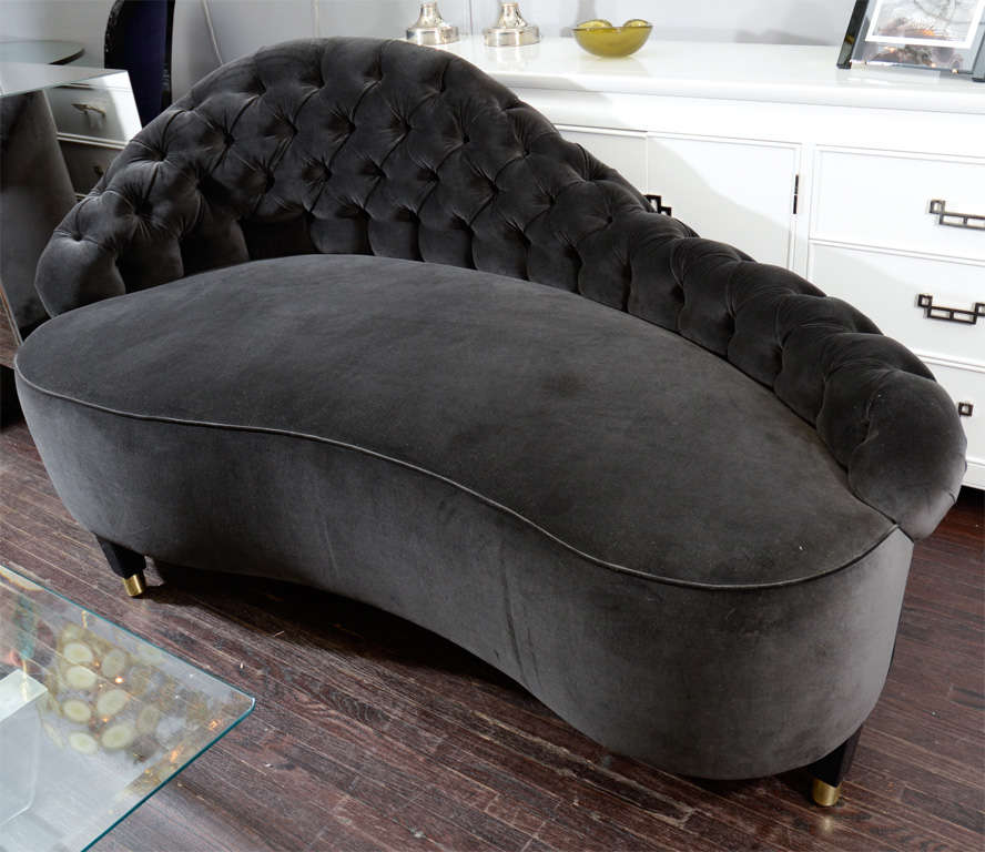 Custom chaises lounge in black velvet for sale at 1stdibs for Black velvet chaise