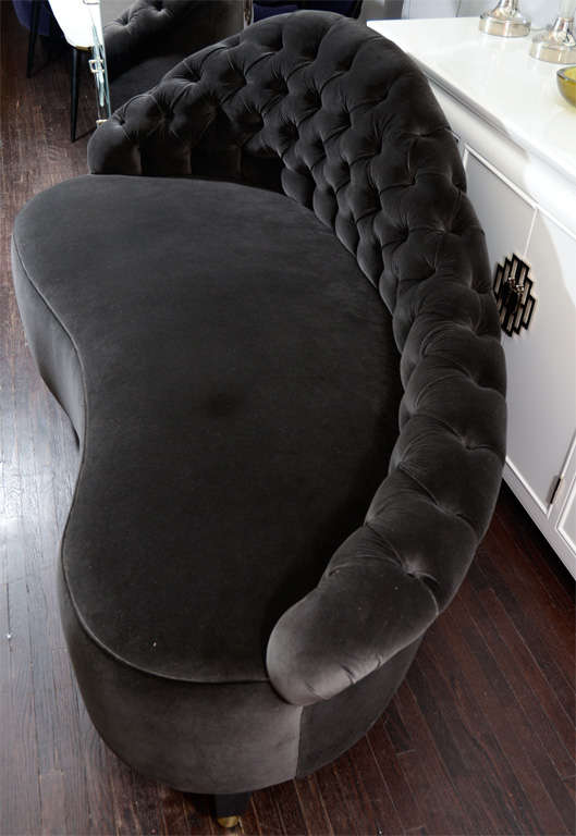 Custom chaises lounge in black velvet for sale at 1stdibs for Black velvet chaise lounge
