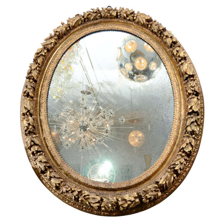 19th Century Carved Wood and Gesso Gilt Mirror