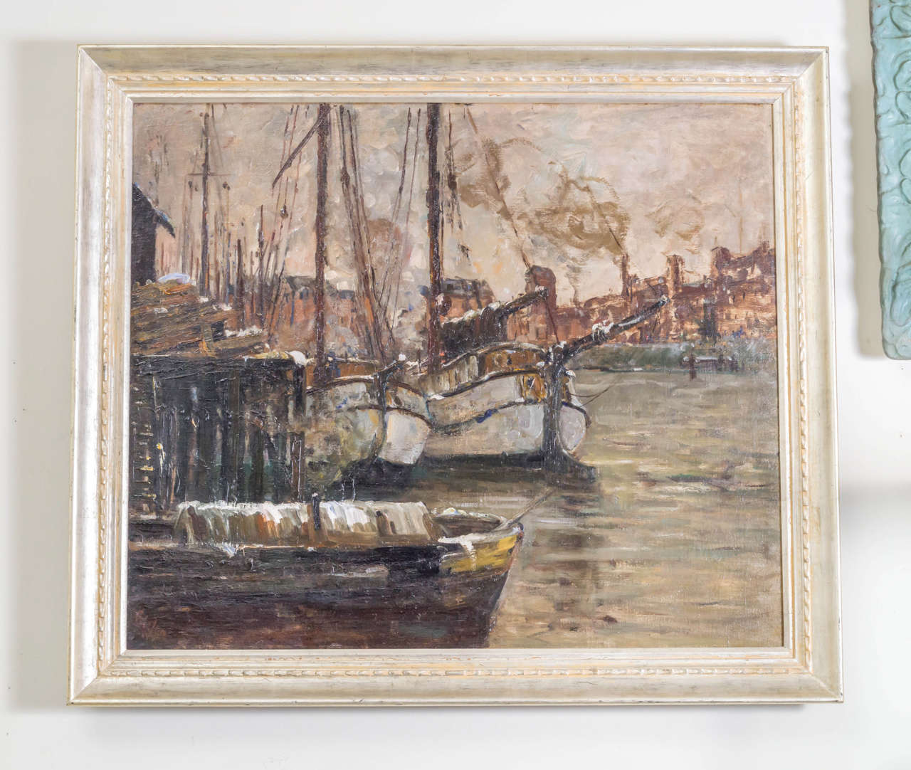 Oil on Canvas Painting of a Harbor Scene by German Artist Toni Magpie (Elster) 2