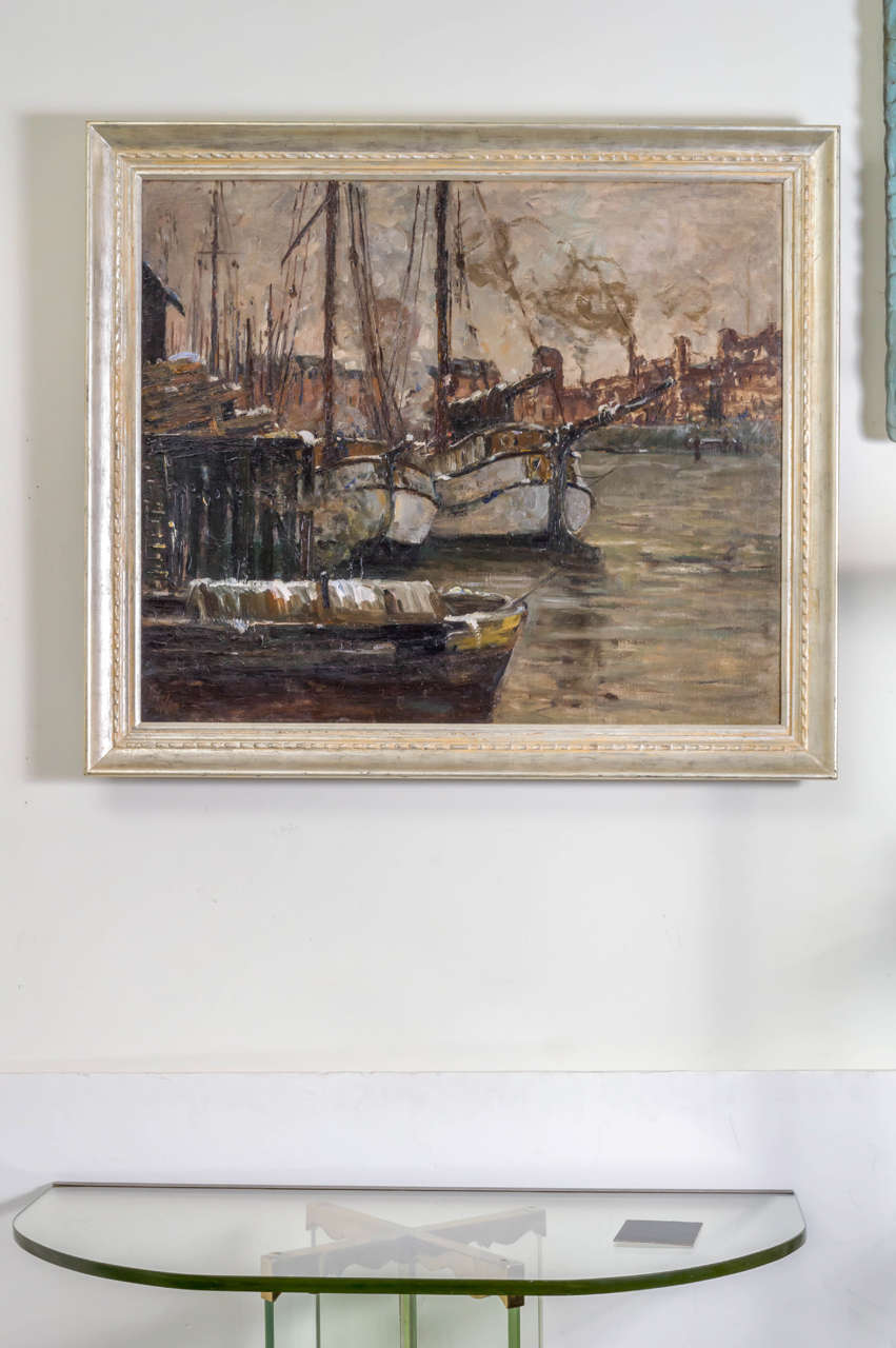 Oil on Canvas Painting of a Harbor Scene by German Artist Toni Magpie 'Elster' In Excellent Condition For Sale In San Francisco, CA