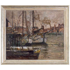 Oil on Canvas Painting of a Harbor Scene by German Artist Toni Magpie 'Elster'