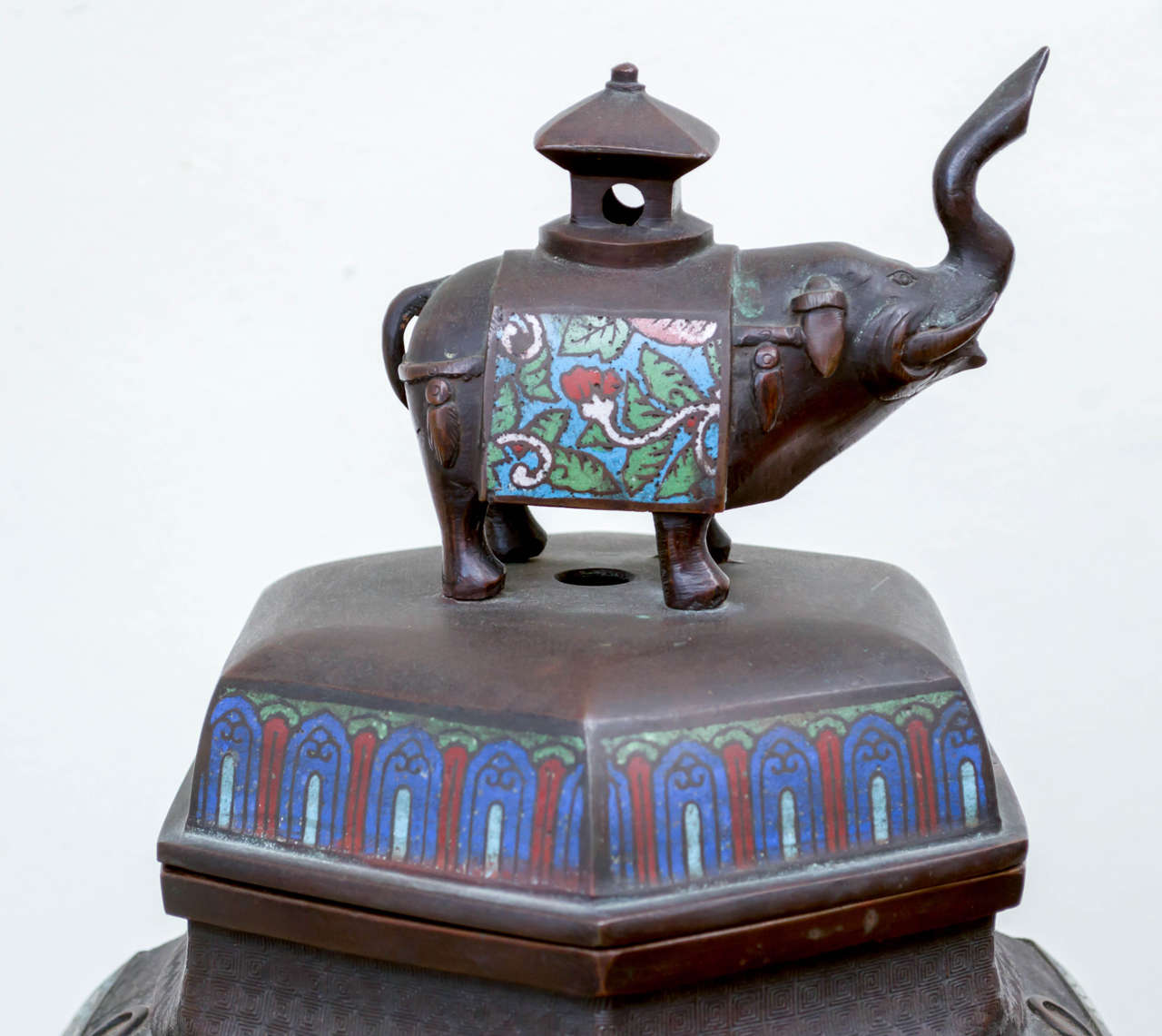 Japanese Bronze and Champ Leve Censer For Sale 2
