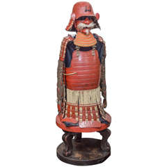 Suit of Red Lacquer Japanese Fighting Armor of the Late Edo Period