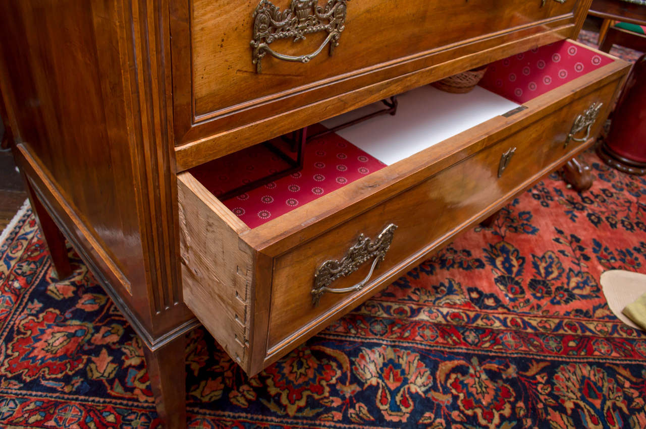 Brass 18th Century Italian Neoclassic Two-Drawer Commode For Sale