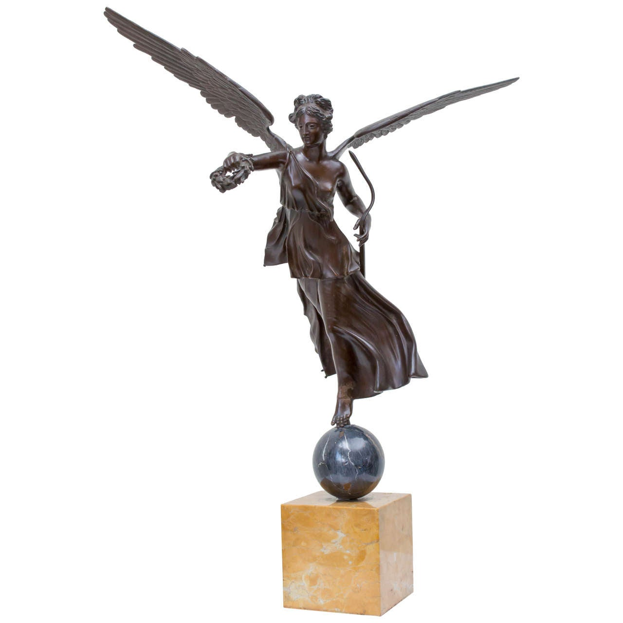 Late 19th Century Italian Bronze Statue of Winged Victory