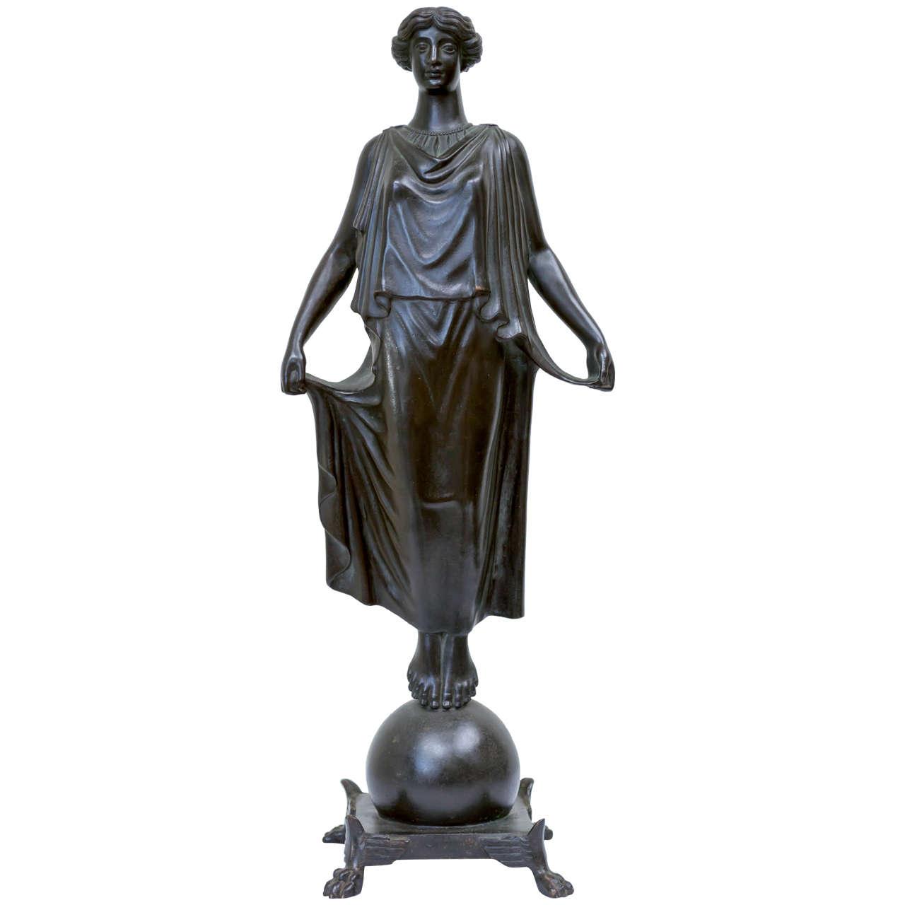 19th Century Roman Bronze Statue of a Woman