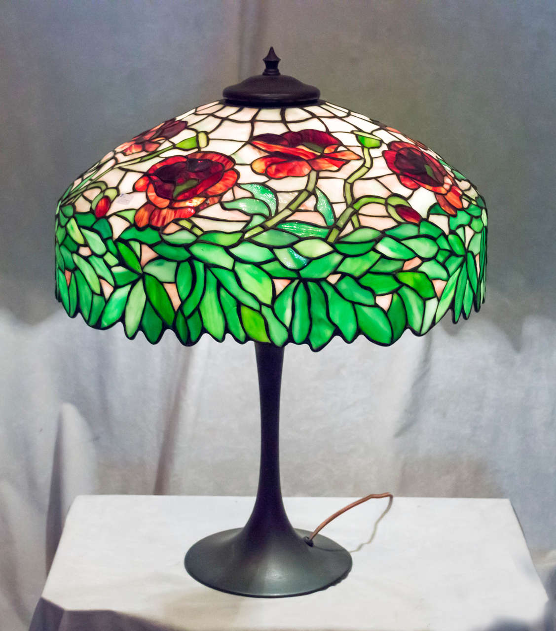 Leaded Glass Table Lamp Oriental Poppy Ca 1910 At 1stdibs