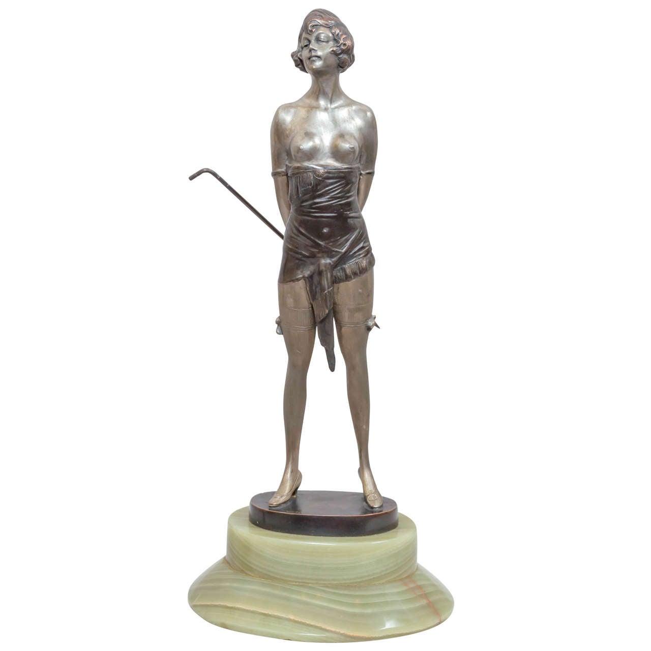 "Art Deco Bronze ""The Whip Girl"" by Bruno Zach"
