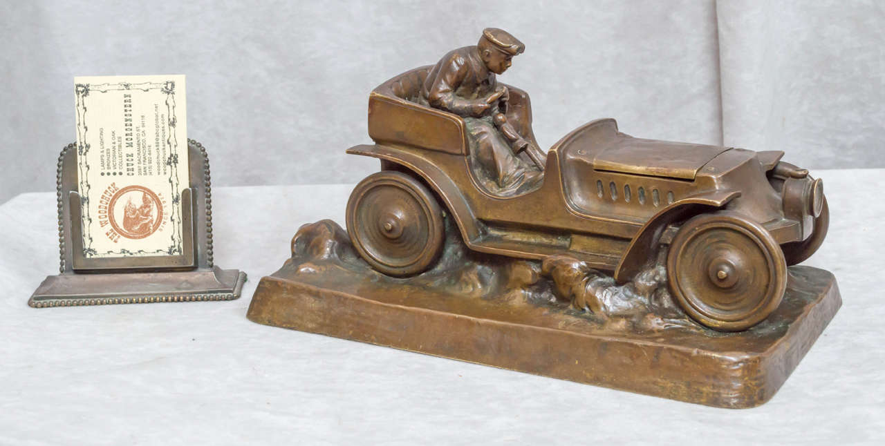 Beaux Arts Austrian Bronze Inkwell of an Automobile and Driver For Sale