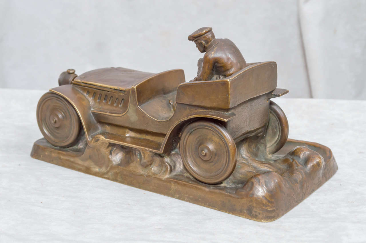 Patinated Austrian Bronze Inkwell of an Automobile and Driver For Sale
