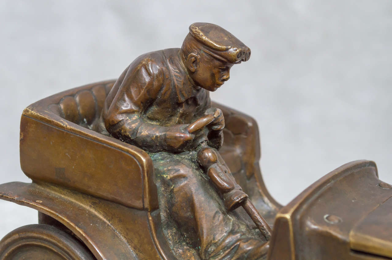 Austrian Bronze Inkwell of an Automobile and Driver In Excellent Condition For Sale In San Francisco, CA
