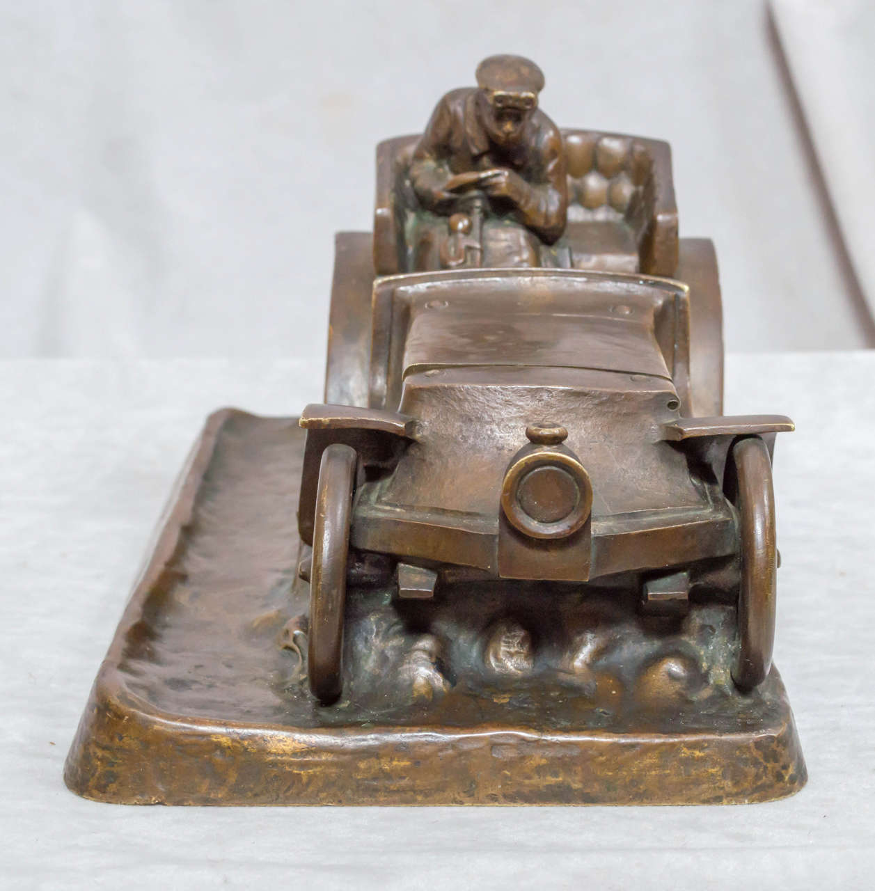 20th Century Austrian Bronze Inkwell of an Automobile and Driver For Sale