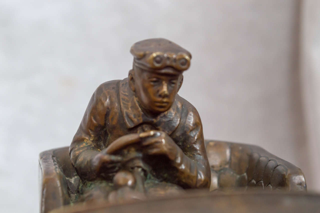 Austrian Bronze Inkwell of an Automobile and Driver For Sale 1