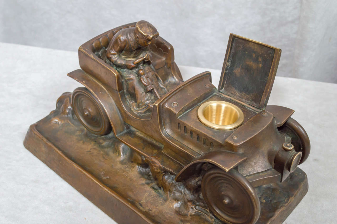 Austrian Bronze Inkwell of an Automobile and Driver For Sale 2